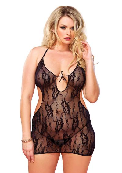 2 PCS CHEMISE SET BLACK PLUS SI