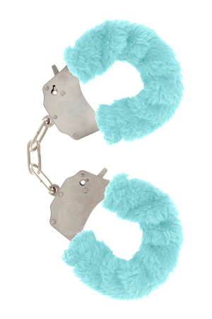 FURRY FUN CUFFS PALE BLUE PLUSH