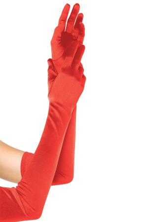 EXTRA LONG SATIN GLOVES RED OS