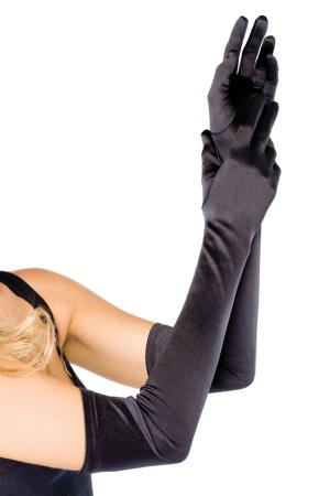 EXTRA LONG SATIN GLOVES BLACK OS
