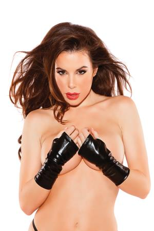 WET LOOK LONG GLOVES BLACK OS