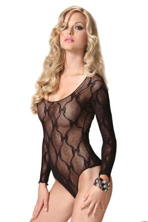 BOW LACE LONG SLEEVED TEDDY OS