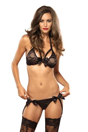 2 PCS LACE BRA TOP SET BLACK S/M
