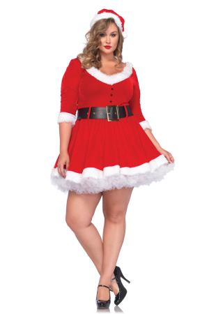 MRS. CLAUS HOODED DRESS RED 2XL/3XL