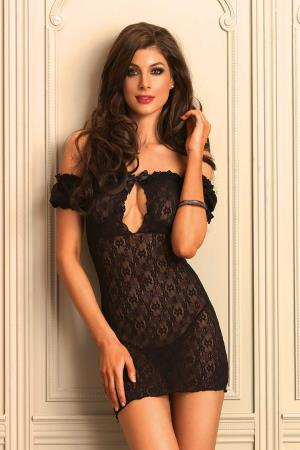 OFF THE SHOULDER CHEMISE BLACK OS