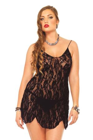 ROSE LACE FLAIR DRESS BLACK PLUS SI