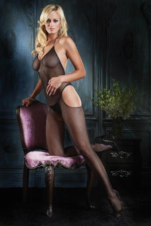 HALTER SUSPENDER BODYSTOCKING OS