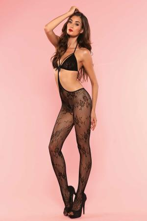 LACE  CUT OUT BODYSTOCKING OS