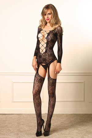 FLORAL SUSPENDER BODYSTOCKING OS