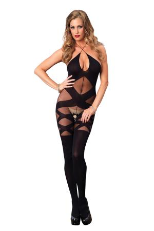 HALTER BODYSTOCKING O/S BLACK