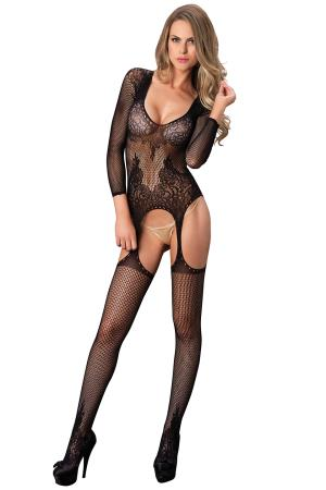 SUSPENDER BODYSTOCKING O/S BLACK