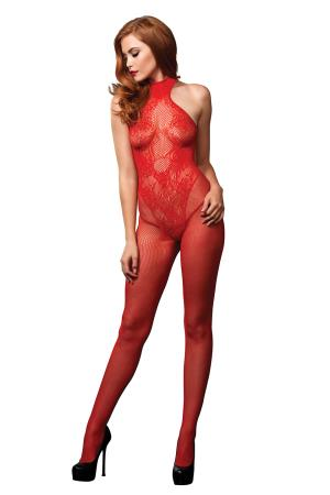 OPEN CROTCH BODYSTOCKING RED OS