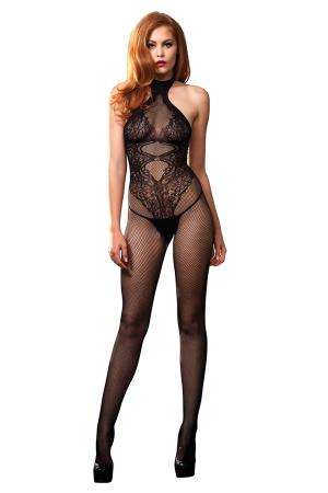 OPEN CROTCH BODYSTOCKING BLACK OS